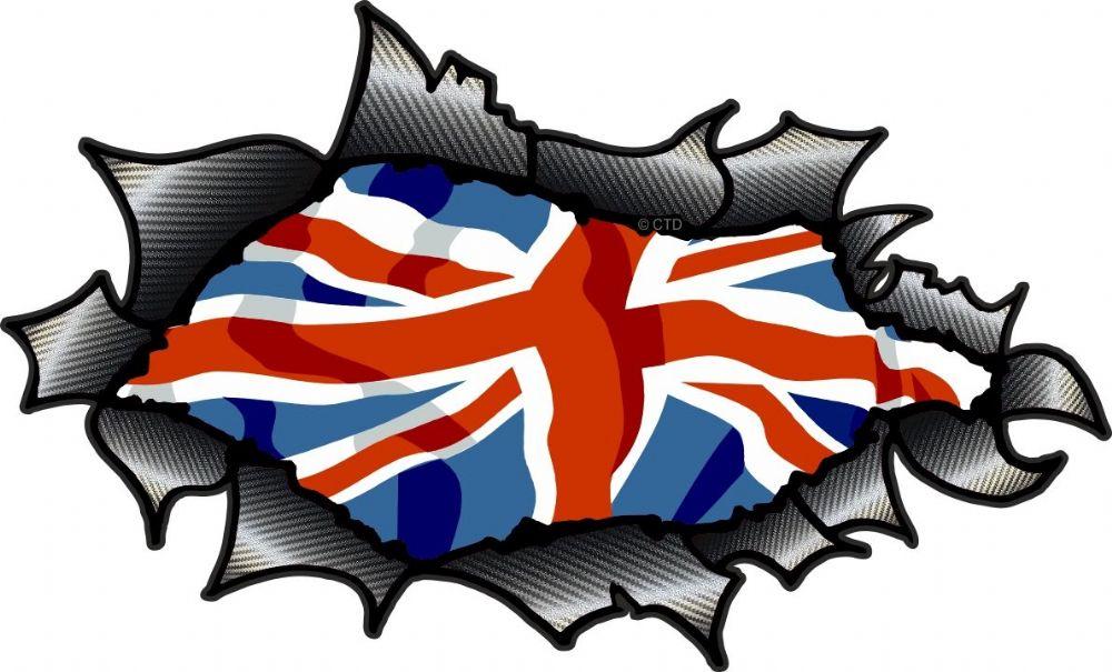 Ripped Torn Carbon Fibre Fiber Design With Union Jack British Flag ...